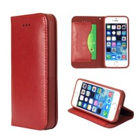 Moon Monkey Classical Luxury Wallet with Card and Stand Defender Genuine Leather Case for Iphone 5/5s (Red)