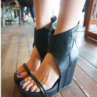 Black High Heel New Summer Lace Up Sandals = 4777250692