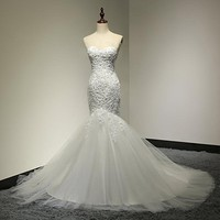 Sweetheart Beaded Mermaid Wedding Dress 2017 Real Pictures Lace Wedding Dress Tulle Bridal Wedding Gown Vestido De Noiva SL-W58