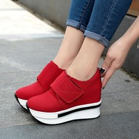 Summer Women Shoes Wedges Sneakers Slipony Ladies Canvas Platform Shoes High Breathable Female Height Increasing Tenis feminino