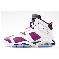 Air Jordan 6 GS The purple grape/white  Basketball Shoes 36-40