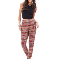 FOREVER 21 Tribal Print Pleated Joggers Wine/Taupe