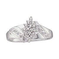 10kt White Gold Women's Round Diamond Cluster Ring 1/10 Cttw - FREE Shipping (US/CAN)