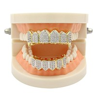 Fashion Gold braces teeth HIP HOP Diamond Shining Dental Braces Orthodontics