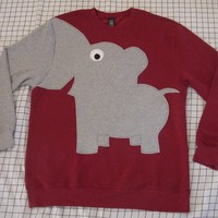 Fun Elephant Trunk sleeve sweatshirt sweater jumperAdult UNISEX Medium Crimson ReD