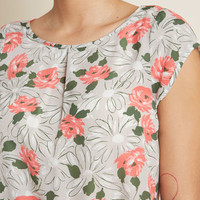 Graceful Expectations Cap Sleeve Blouse in Floral