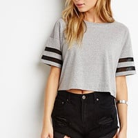 Heathered Varsity-Stripe Tee
