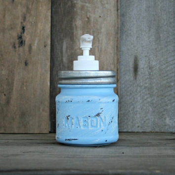 Mason Jar Soap Dispenser - Painted in Baby Blue and Distressed - Rustic, Country, Shabby Chic, Farmhouse, Vintage Style