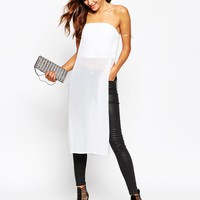 ASOS Structured Bandeau with Sheer Maxi Detail