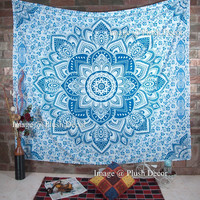 Mandala Star Indian Wall Hanging Cotton Tapestry Twin Size Blue Beach Tapestries 84X56 Inches