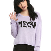 Purple Meow Girls Sweater