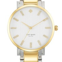 Women's kate spade new york 'gramercy grande' crystal index two-tone bracelet watch, 38mm - Silver/ Gold
