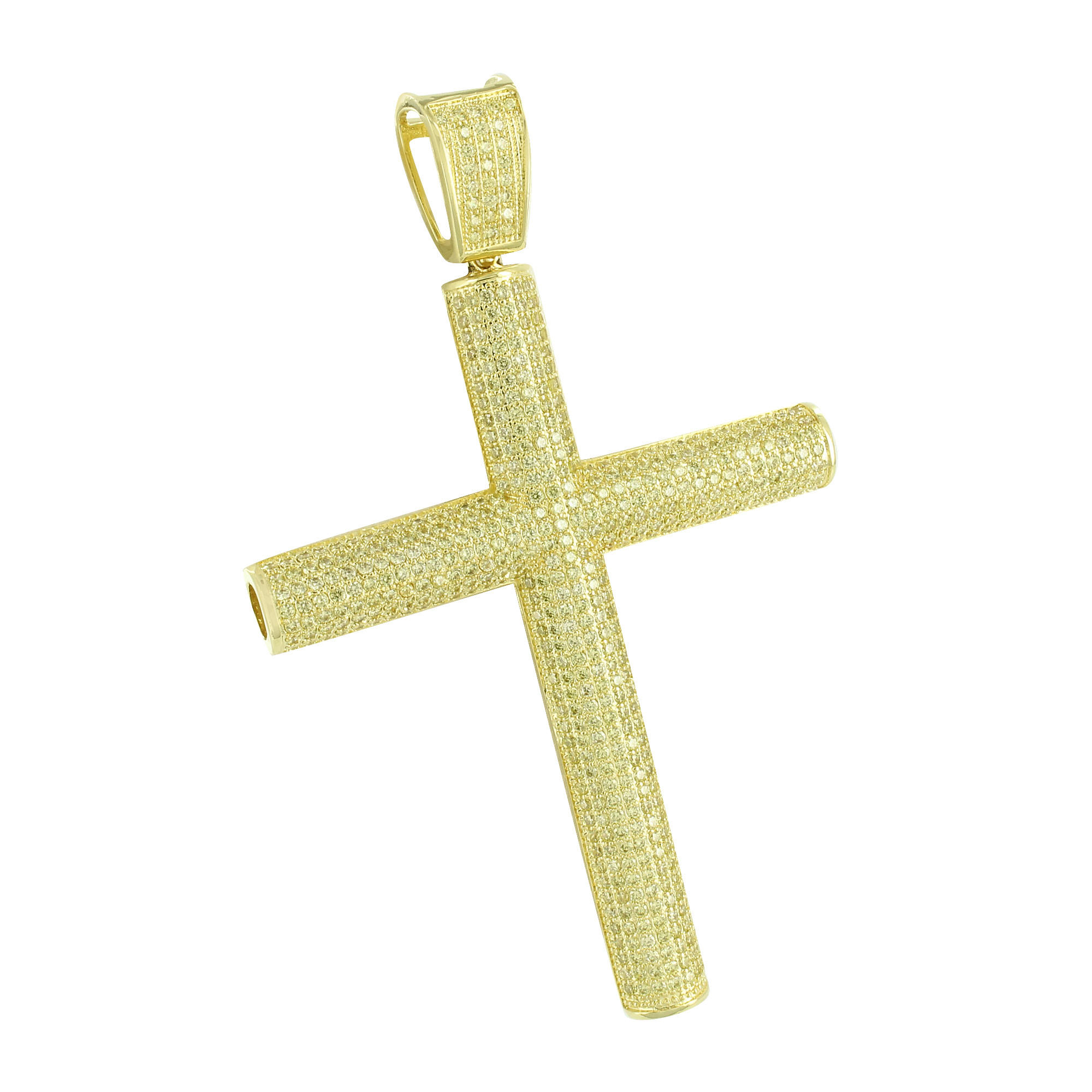 Image of Iced Out Cross Pendant Yellow Simulated Diamonds Cylinder Style