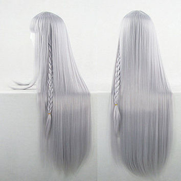 Kirigiri Kiyouko Anime Cosplay Wig With Plaits Straight Long 90cm Silver Heat Resistant Free Shipping
