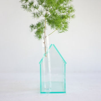 """Little """"glass house"""" bud vase - small acrylic structure with chimney vase - greens edge acrylic geometric architecture"""