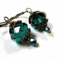 Teal Czech Glass Victorian Style Dangle Earrings, Sparkling Jewelry, Affordable Jewelry for Women, Vintage Style Antiqued Brass Earrings