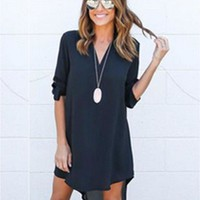 2017 Newest Women Long Sleeve Spring Summer Dress Loose Waist Solid Shirt Dress Ladies Woman Casual Mini Women Dress