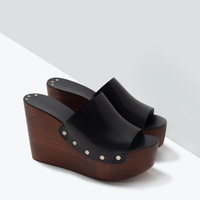 WOOD AND LEATHER WEDGES