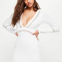 Missguided - White Front Plunge Mesh Panel Bodycon Dress