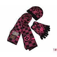Louis Vuitton LV New Popular Women Men Plaid Pattern Warm Knit Hat Cap Scarf Gloves Set Three Piece
