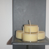 Gardenia scented yellow soy tea light candles, vegan friendly candles
