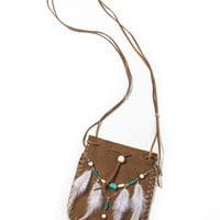 Brown Boho Stone Detail Feather Bag