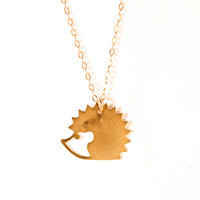 Hedgehog Necklace Gold Filled/Silver Necklace Icon Jewelry Design Small Pendant Minimalist Unisex Modern Jewelry Necklace Free Shipping