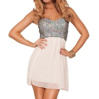Strapless Sweetheart Sequin Pull Up Design Princess Style Homecoming Party Dress