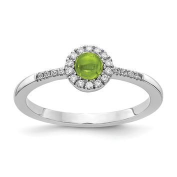 14k White Gold Diamond Halo And Peridot Chabochon Ring