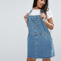 ASOS CURVE Denim Overall Dress in Midwash Blue at asos.com