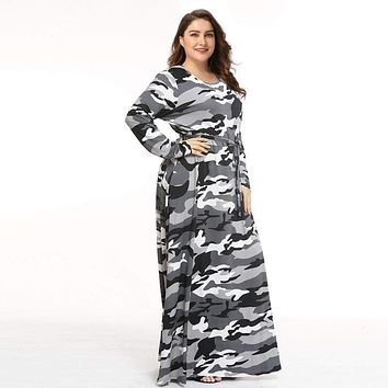 Plus Size Women Camouflage Print Long Sleeve Maxi Dress