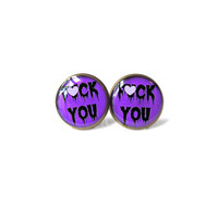 MATURE - Purple Drippy F*CK YOU. Stud Earrings - Rude Spooky Cute Pastel Goth Pop Culture Jewelry