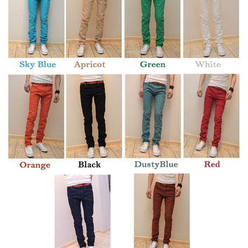 New Mens Slim Fit Casual Pants Skinny Stretch Pencil Jeans Trousers  W28-W34