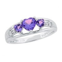 Amethyst Heart Sterling Silver Diamond Accent Birthstone Ring - Size 7