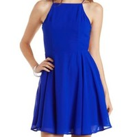 Blue Bib Front Skater Dress with Caged Back by Charlotte Russe