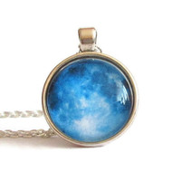 blue moon pendant,blue moon necklace,blue moon jewelry,planet necklace,planet jewelry,galaxy pendant,galaxy necklace,space,astronomy jewelry