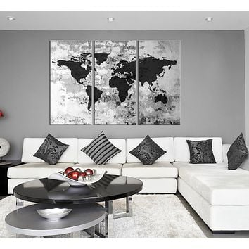 Large Triptych Art Grayscale World Map Canvas Print Large World Map Wall Art World Map on Old