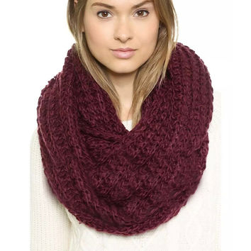 Chunky Braid Infinity Scarf in Red
