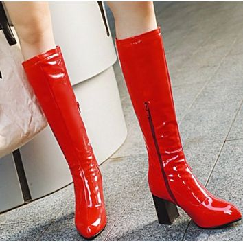 Hot style bright medium boots comfortable boots with thick heels