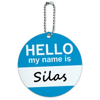 Silas Hello My Name Is Round ID Card Luggage Tag