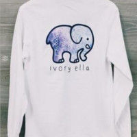 White Elephant Pattern Long Sleeve Top