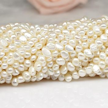 SNH 5mm baroque AA pearl strand natural freshwater pearl strings 5 strands/package 5 strands price with free shipping