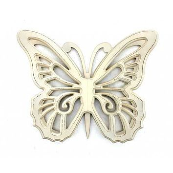 """18.5"""" x 23"""" x 4"""" Light Yellow Rustic Butterfly Wooden  Wall Decor"""