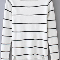 White Square Neck Striped Long Sleeve Sweater