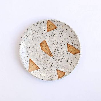 Catch All Plate White Speckled Geo