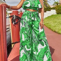 Green Leaves Print Ruffle Off Shoulder Two Piece High Waisted Elegant Long Jumpsuit