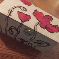 Wood burned poppy treasure box