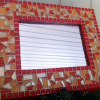 Glass Mosaic Wall Mirror in Reds Golds and by GreenStreetMosaics