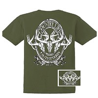 Country Life Outfitters Deer Skull Head Medallion Hunt Vintage Unisex Bright T Shirt