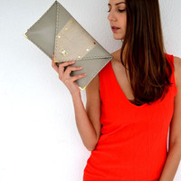 Grey leather clutch with genuine light gold iridescent snakeskin / Handmade leather bag